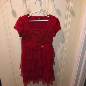 Christmas Sparkly Red Dress - Girls